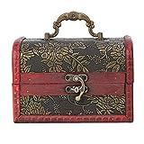 Scatola portagioie vintage, scatola portagioie quadrata, vetrina decorativa in legno fatta a mano, con serratura rotante, portabile per deposito gioielli