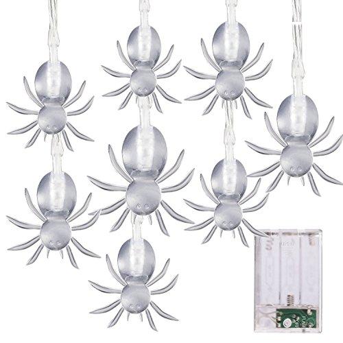 Luces decorativas de Halloween. Funcionan con pilas. Guirnalda de luces de 20 led. Murciélagos con luz azul, 2 m