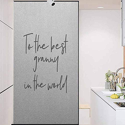 """Waterproof Glass Window Privacy Film Sticker, Grandma Brush Calligraphy Hand Drawn Quote The Best Gr, Home Window Tint Film Heat Control, 35.4"""" Wx78.7"""" Linches"""