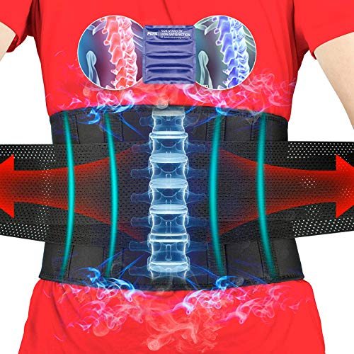 FEATOL Gel Pack Back Brace,Lumbar Support for Back Pain Relief, Herniated Disc, Sciatica, Scoliosis - Breathable Material Design with Heat & Ice Gel Pack for Men & Women| Large/X-Large