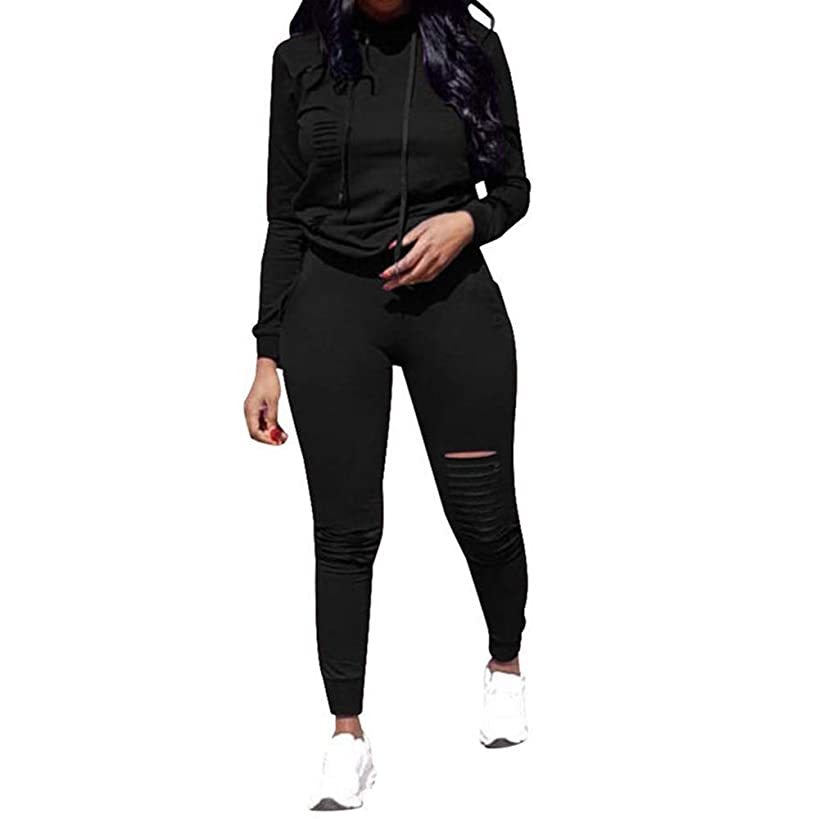 Fantasy Closet Women's 2 Pieces Outfits Hoodie and Long Pants Sweatsuits Set Bodycon Tracksuits