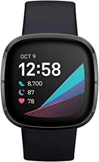 Fitbit Sense Advanced Health & Fitness Smartwatch - Carbon/Graphite (S&L) Bands Included