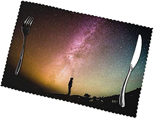 Hombre Que Mira hacia Arriba La Impresión del Cielo Nocturno del Universo para Los Tapetes De La Mesa De Comedor Fácil De Limpiar Se Puede Limpiar Tapetes De Cocina Resistentes Al Calor