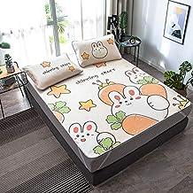 Cartoon Frog Summer Sleeping Bed Mat Pillowcase Foldable Students Dormitory Ice Silk Bed Sheet Childern Summer Bed Mat Set...