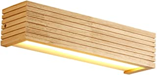ZXT Nordic Striped Solid Wood Wall Lamp Simple Wooden Lamp Bedroom Bedside Bathroom Rectangular Mirror Headlights Home Lighting Japanese Style Lamp (Color : Warm Light, Size : L)