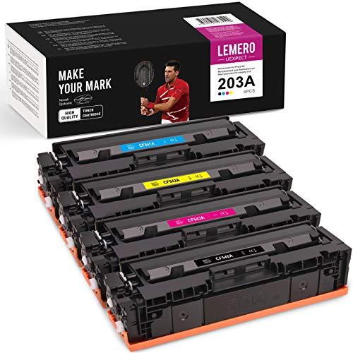 LEMERO UEXPECT Kompatibel 203A Toner Cartridge Replacement für HP Color Laserjet Pro MFP M281fdw M281fdn M281cdw M280nw M254nw M254dw M254dn für HP CF540A CF540A CF541A CF542A CF543A Toner(4 Pack)
