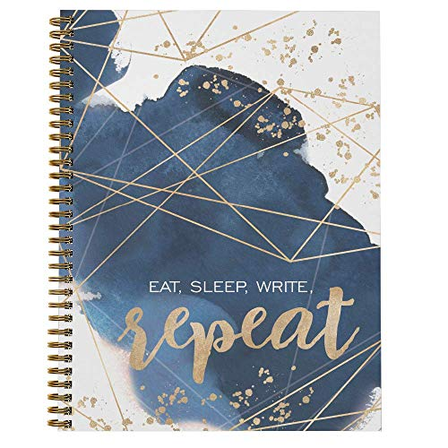 Softcover Write On Repeat 8.5' x 11' Quarantine Spiral Notebook/Journal, 120 College Ruled Pages, Durable Gloss Laminated Cover, Gold Wire-o Spiral. Made in the USA