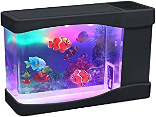 Lightahead Artificial Mini Aquarium A Sensory Multi Colored LED Swimming Fish Tank with Bubbles