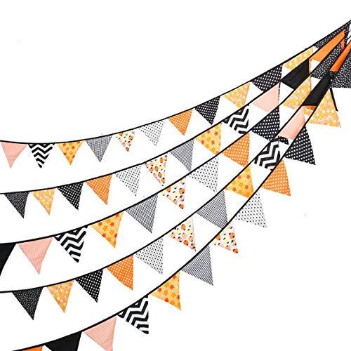 Banner aus Stoff für Halloween, bunte Flagge, 24 Stück, dreieckige Wimpelkette, Vintage, Baumwolle, hängende Girlande für Taufe, Geburtstag, Fensterdekoration