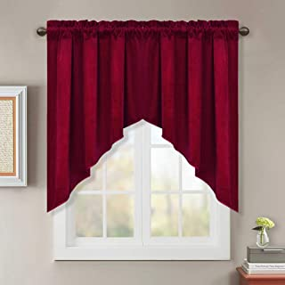 StangH Red Velvet Curtain Swags for Window - Winter Season Soft Velvet Texture Tiers Sunlight Blocking Privacy Protect Curtains for Living Room/Holiday Decor, Red, W35 x L36 inch, 2 Panels