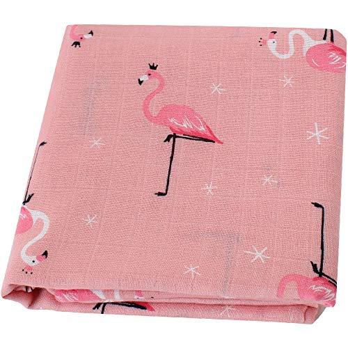 "Lebze Muselina Manta Bebé -\""Diseño de Flamenco\"" Bambú Algodón Grande 120x120 cm - Mantas Envolventes Regalo Perfecto para Bebés"