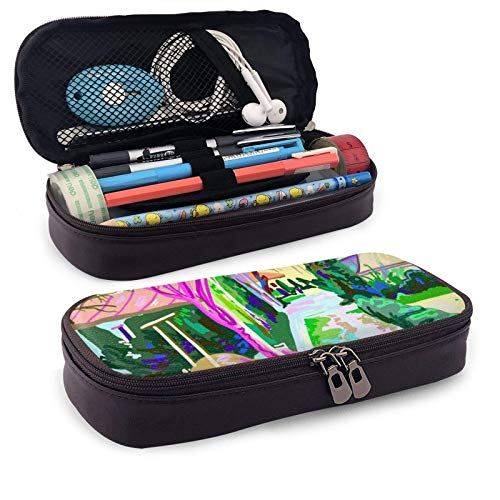 XCNGG Estuche para lápices neceser Digital Painting of Rural Landscape ContemporaryLeather Pencil case, Waterproof, Fashionable and Durable, can be Used for Students, Schools, Offices, Colleges