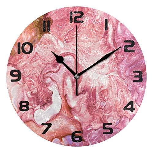 Hunihuni Wanduhr, Pastell-Marmor, abstrakt, leise, Nicht tickende Uhr für Schlafzimmer, Wohnzimmer, Büro, Dekoration