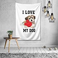 私は私の犬のタペストリーの壁掛けアートタペストリーを愛しています家のリビングルームの寮の装飾60X40インチ