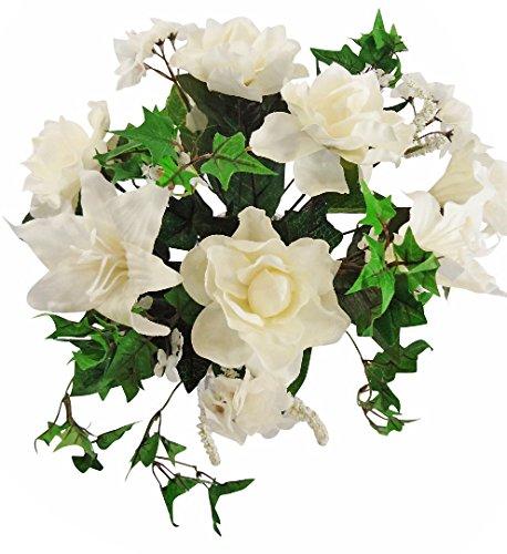 35,6cm Gardenia/Lily/Mini Ivy boda ramo, color crema