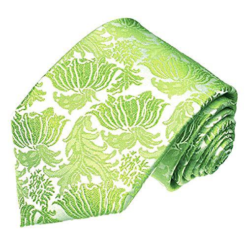 LORENZO CANA - Italian 100% Pure Silk Tie Lightgreen Green Floral Silver Wedding Jacquard Necktie - 36088