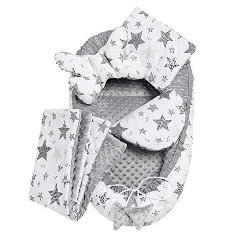 Solvera_Ltd - Juego de cuna (5 piezas, incluye nido para bebé de 90 x 50 cm, forro extraíble, cojín plano, manta para gatear, cojín para bebé, 100% algodón), color gris