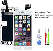 Premium Screen Replacement Compatible with iPhone 6s 4.7 inch Full Assembly - LCD 3D Touch Display digitizer with Front Camera, Ear Speaker and Sensors, Compatible with All iPhone 6s (White)