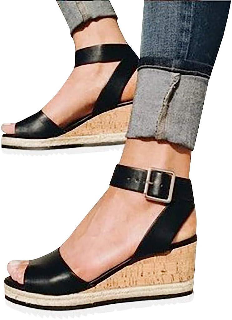 NLOMOCT Sandals for Women Casual Summer Open Toe Ankle Strap Wedge Platform Sandals Outdoor Roman Shoes Women's Sandals