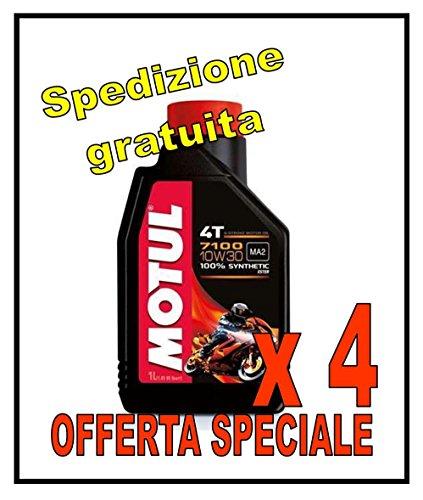 Motul N. 4 PZ 7100 4T 10w30 Litri 1- Olio Moto 4 Tempi 100% Sintetico JASO MA2 Chain LUBE in OMSAGGIO