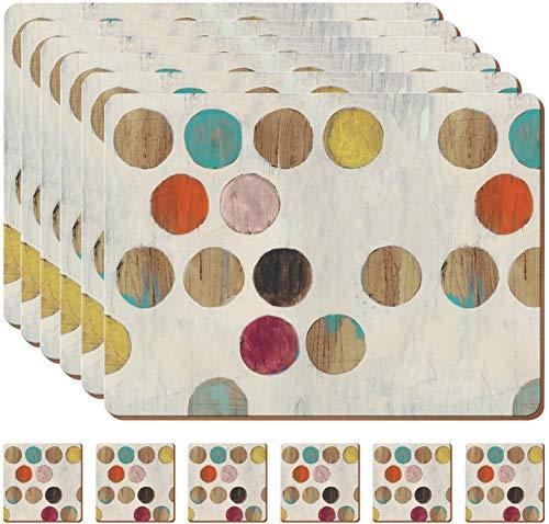 Juego de6manteles individuales de lunares con6posavasos de madera de corcho para manteles individuales de mesa,manteles individuales de cocina,tapetes antideslizantes resistentes al calor,hogar(beige)