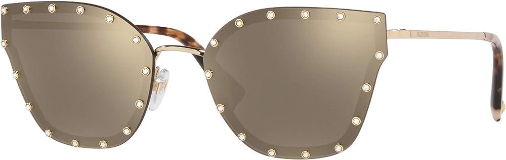 Valentino, occhiali da sole per donna, montatura in metallo, lenti specchiate light gold/brown gold VA2028A
