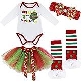 IEFIEL Conjuntos de Vestidos Navidad para Bebé Disfraz Carnaval Body de Papá Noel Pelele Manga Larga+Tul Tutú+Diadema+Calcetínes+Zapatos Romper para bebé Recien Nacido Árbol de Navidad 2 6-9 Meses