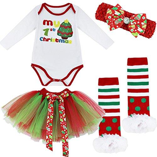 IEFIEL Conjuntos de Vestidos Navidad para Bebé Disfraz Carnaval Body de Papá Noel Pelele Manga Larga+Tul Tutú+Diadema+Calcetínes+Zapatos Romper para bebé Recien Nacido Árbol de Navidad 2 0-3 Meses