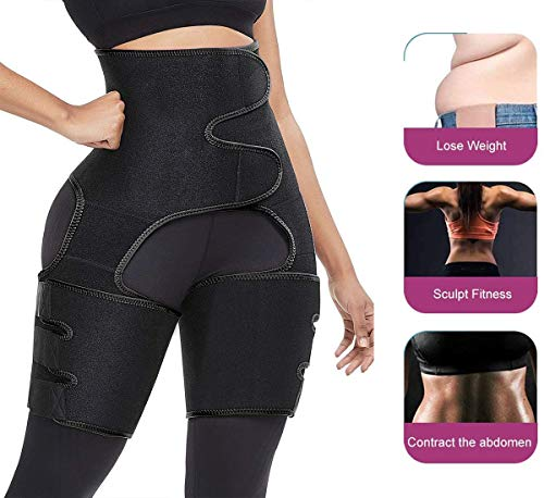 DINGHONG 3-in-1 High Waist Trainer Thigh Trimmer Workout Fitness Training Weight Loss Butt Lifter Thigh Slimmer Support Belt Hip Enhancer Shapewear Body Shaper for Women Men