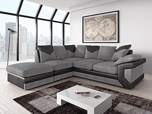 Amazing Sofas large grey corner sofa LARGE-DINO-CORNER-SOFA-GREY-BLACK-LEFT-HAND-SIDE-FOAM. Fire resistant as per British Standards, foam filled seats for comfort.