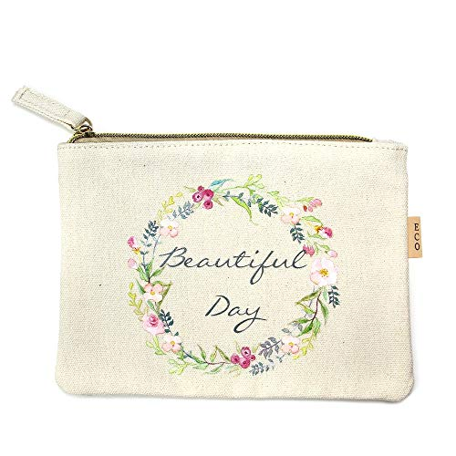 Me Plus Eco Zipper Pouch Stylish Printed, Traveler Organizer, Cosmetic Small Makeup, Students BTS Organization Bag (Beautiful Day)