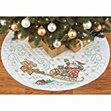 Herrschners Pre-Quilted Here Comes Santa Tree Skirt Stamped Cross-Stitch Kit