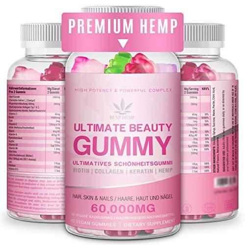 Haar Vitamin Gummis - 15.000mcg Biotin Gummies, Haar Haut und Nägel Multivitamin Gummi für Frauen, 3 natürliche Fruchtbevorzugungen für 1 Monat Versorgung
