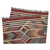 Handicraft Bazarr Alfombra de yute estilo vintage de 4 x 6 pies tejida a mano alfombra de yute para sala de estar, alfombra étnica Kilim, hecha a mano, piso plano y yute rectangular