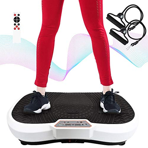 Todeco - Vibration Plate, Fitness Vibrating Machine - Tamaño: 69 x 39 x 13 cm - Material: Plástico - Blanco, 180 Niveles, Control Remoto, Bandas de Resistencia y Esterilla de Yoga