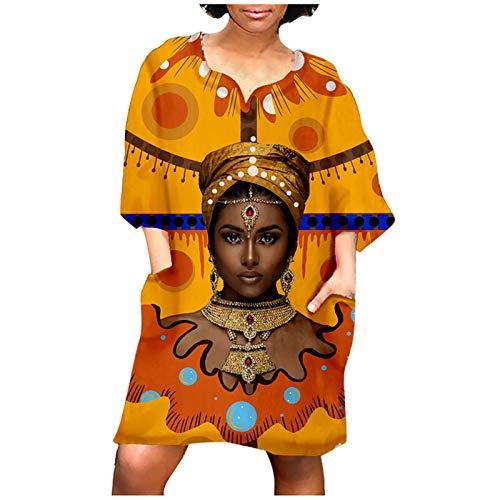 Dwevkeful Kleider Damen Elegante Vintage Boho 1/2 Ärmellänge Abendkleider Cocktailkleid Minikleid Frauen Afrikanisches Drucken A-Linie Langes Kleid Partykleid Brautkleid Sommerkleid