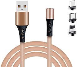 Aestdo 3,3 voet magnetische oplaadkabel, 3 in 1 siliconen USB snellaadkabel, creatieve magnetische mobiele telefoon oplade...