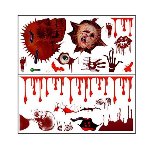 Kongqiabona-UK Zsz2995 Halloween Horror Skull Blood Handprint Etiqueta de la Pared Pegatinas de Pared Creativas Decoraciones Etiqueta de la Pared