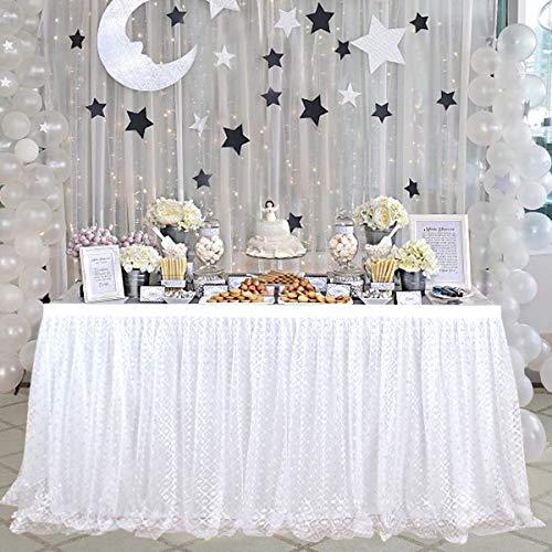 MUGBGGYUE Tutu Tüll Tisch Rock Tischdecke Rock geeignet für Hochzeit Baby Baden Geburtstag Kuchen Tisch Mädchen Prinzessin Dekoration (Weiß)
