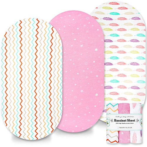 Moses Basket Sheets Set 3 Pack - Baby Bassinet Sheets for Boy and Girl - 100% Cotton Universal Fitted for Oval, Hourglass & Rectangle Bassinet Mattress - Cot Bed Sheets & Crib Mattress Cover (Pink)