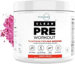 Ultra Clean Stim Free Pre Workout & Nitric Oxide Booster by Type Zero - Beet Root, AKG Arginine and Citrulline Nitric Oxide Supplement - Best Caffeine Free Preworkout Powder for Men Women on Keto Diet