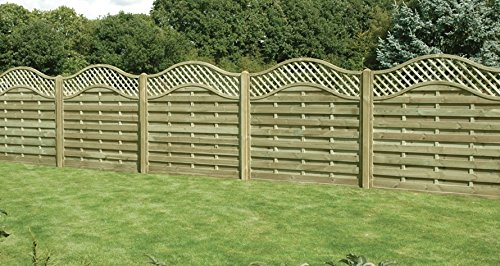 diyclick2buy Garden Fence Panel European Omega Lattice Top 1.2m x 1.8m Fully Treated Various Pack Size (1)