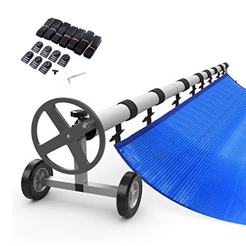 RELAX4LIFE Pool Aufroller Aluminium + Edelstahl, Aufrollvorrichtung mit Rollen, Poolabdeckung Aufroller Teleskopisch, Solarfolie Stange Inkl. 8 Befestigungsbänder, Aufrollsystem