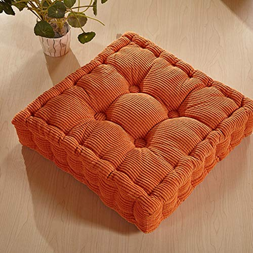 DLP Square Tatami Chair Pads,Thicken Floor Pillow Comfortable Seat Cushions Futon Sofa Cushions for Indoor Outdoor Office Chair-Orange 38x38cm(15x15inch)