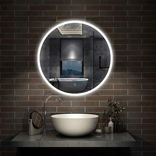 LED Badspiegel rund 60 cm Touch Beschlagfrei Wandspiegel mit Beleuchtung Lichtspiegel Alpha Serie