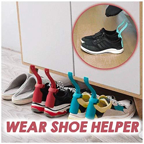 Zooarts 4 STÜCK Kunststoff Schuhlöffel, Lazy Shoe Helper Unisex Handled Shoe Horn Easy on & Off Shoe Lifting Helper, Unisex Wear Shoe Horn Helper Shoehorn Shoe Easy on and off Shoe Sturdy Slip Aid