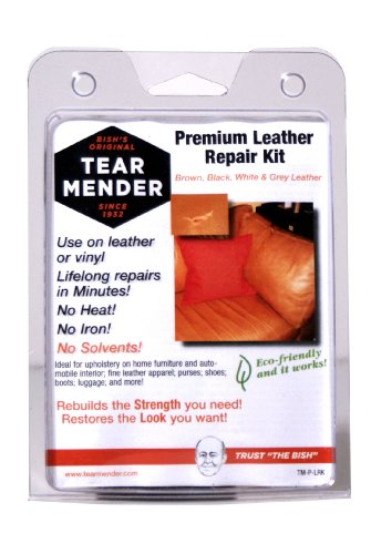 Tear Mender Premium Leather Repair Kit with Patches and Color Refinish Compound, 2 oz Bottle, TM-P-LRK