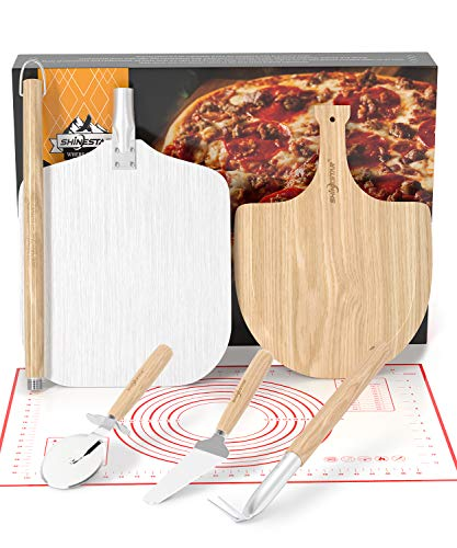 """SHINESTAR Aluminum Pizza Peel Set, Includes 12"""" Pizza Peel Metal with Detachable Handle, Wooden Pizza Paddle, Outdoor Pizza Oven Accessories for Oven or Grill"""