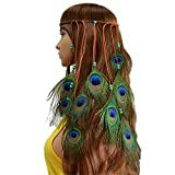 copricapo indiano con 10 piume di pavone, fascia hippy, boho, da carnevale, accessori per capelli per feste e festival