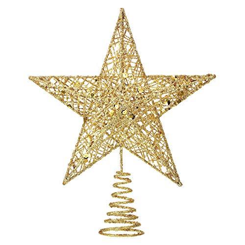 MICHETT Weihnachtsbaumspitze Stern Baumschmuck Christbaumspitze 20cm mit Frühling,Glitzernder baumkronen Ornament Party Dekoration für Weihnachtsbaumdekoration und Heimdekoration,Gold